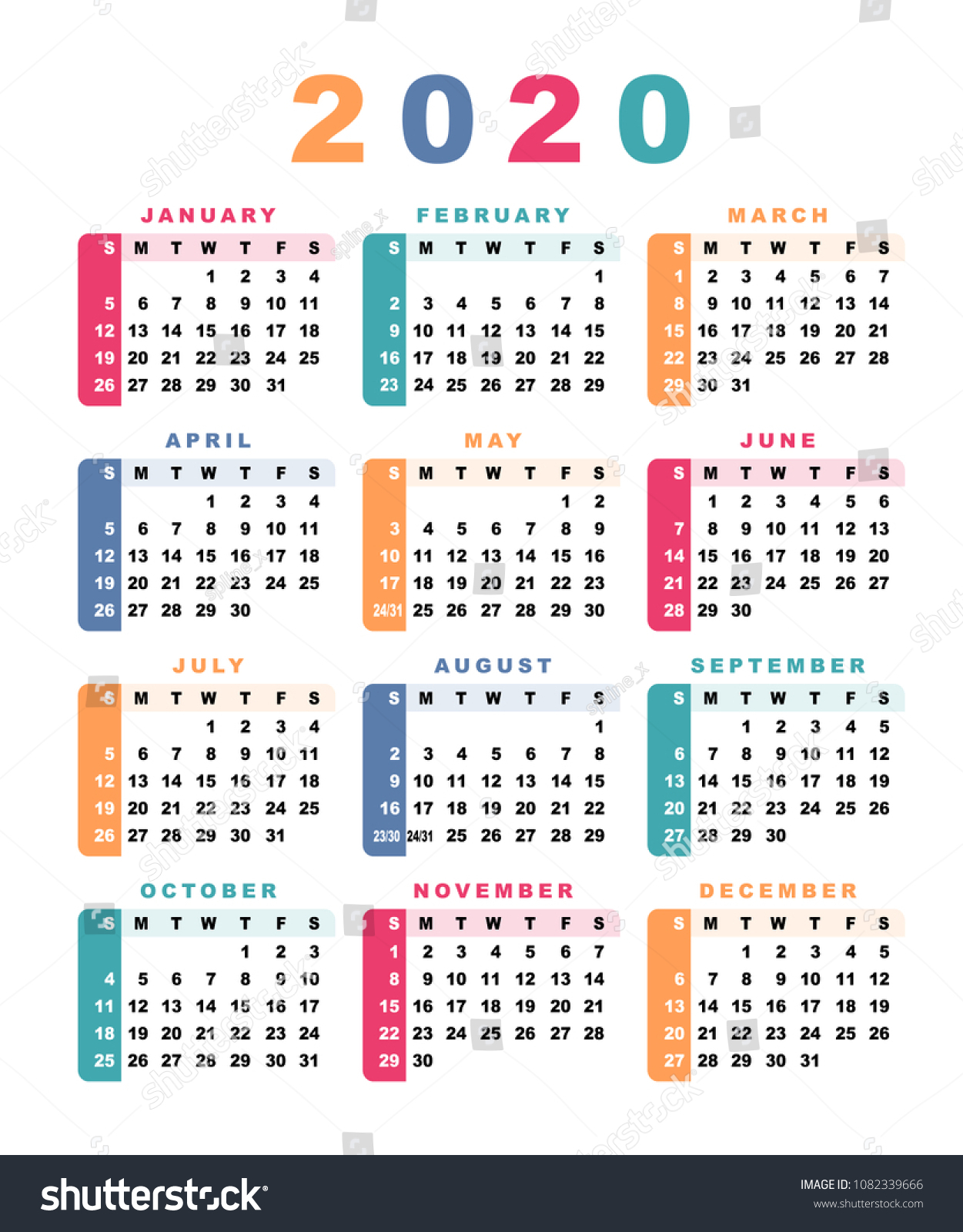 Calendar 2020 Week Starts Sunday Vector Stock Vector