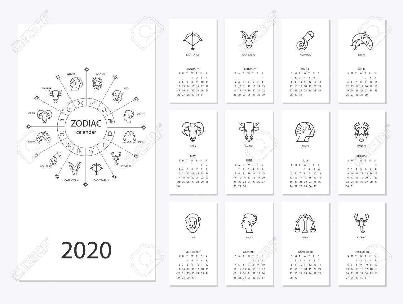 Calendar 2020 With Horoscope Signs Zodiac Symbols Set, Flat Colored..
