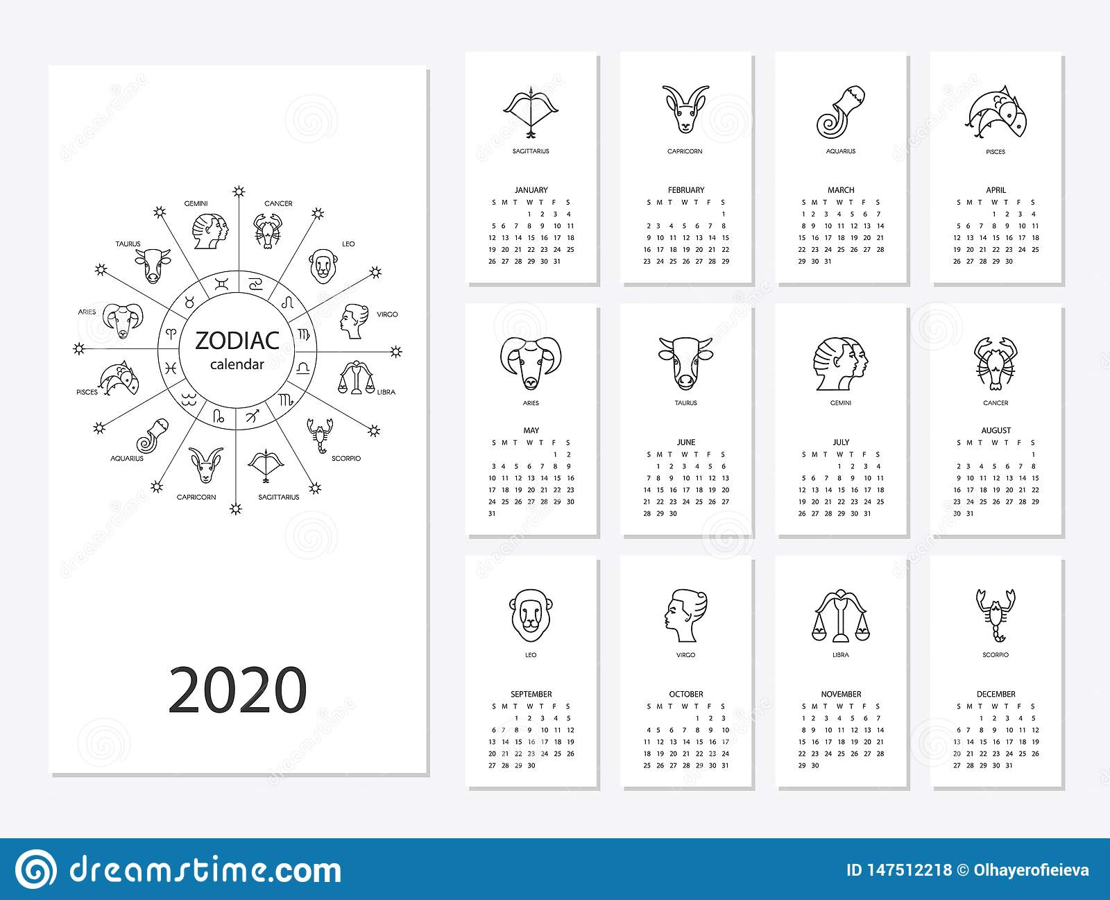 Calendar 2020 With Horoscope Signs Zodiac Symbols Set Stock