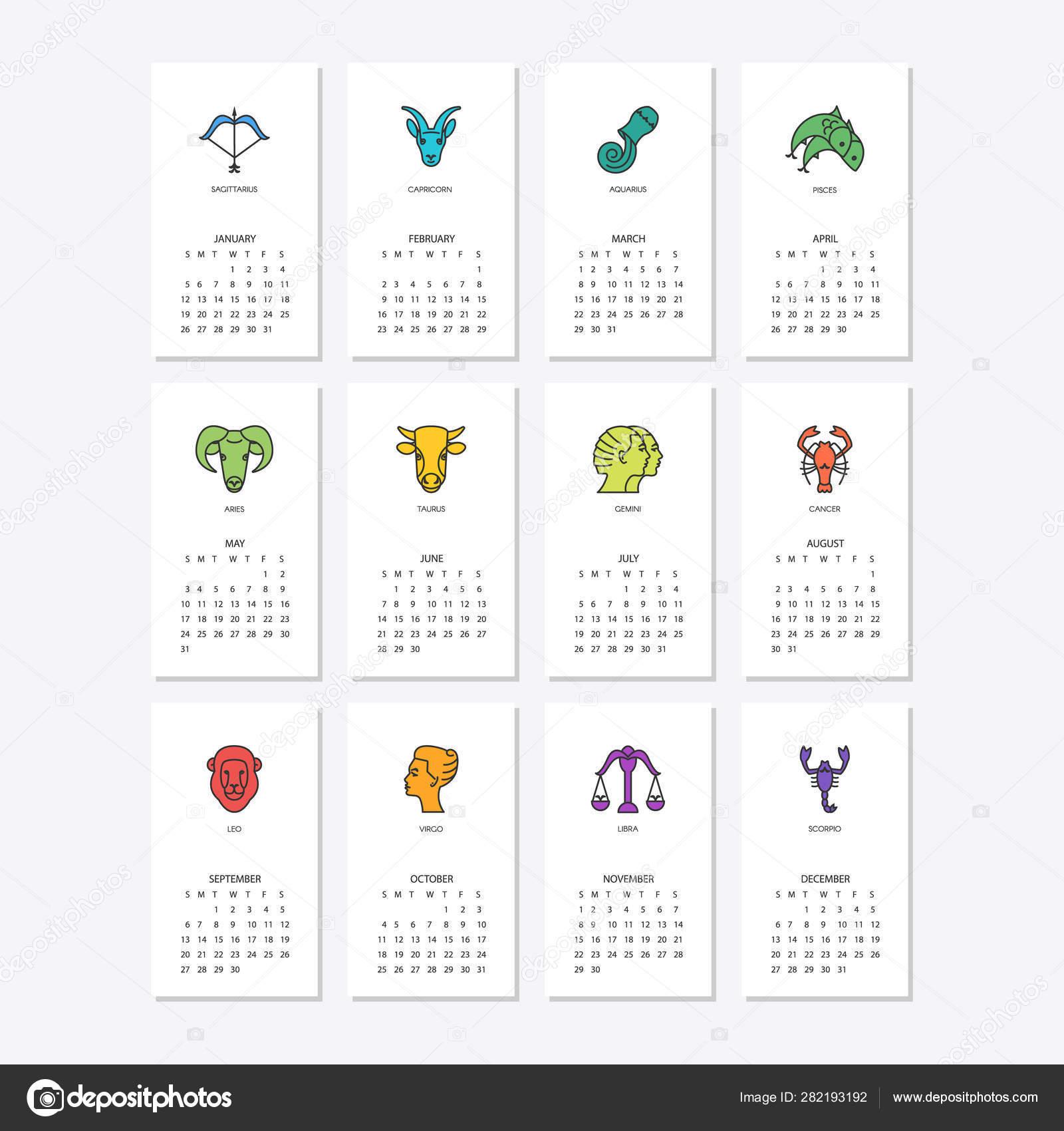 Calendar 2020 With Horoscope Signs Zodiac Symbols Set