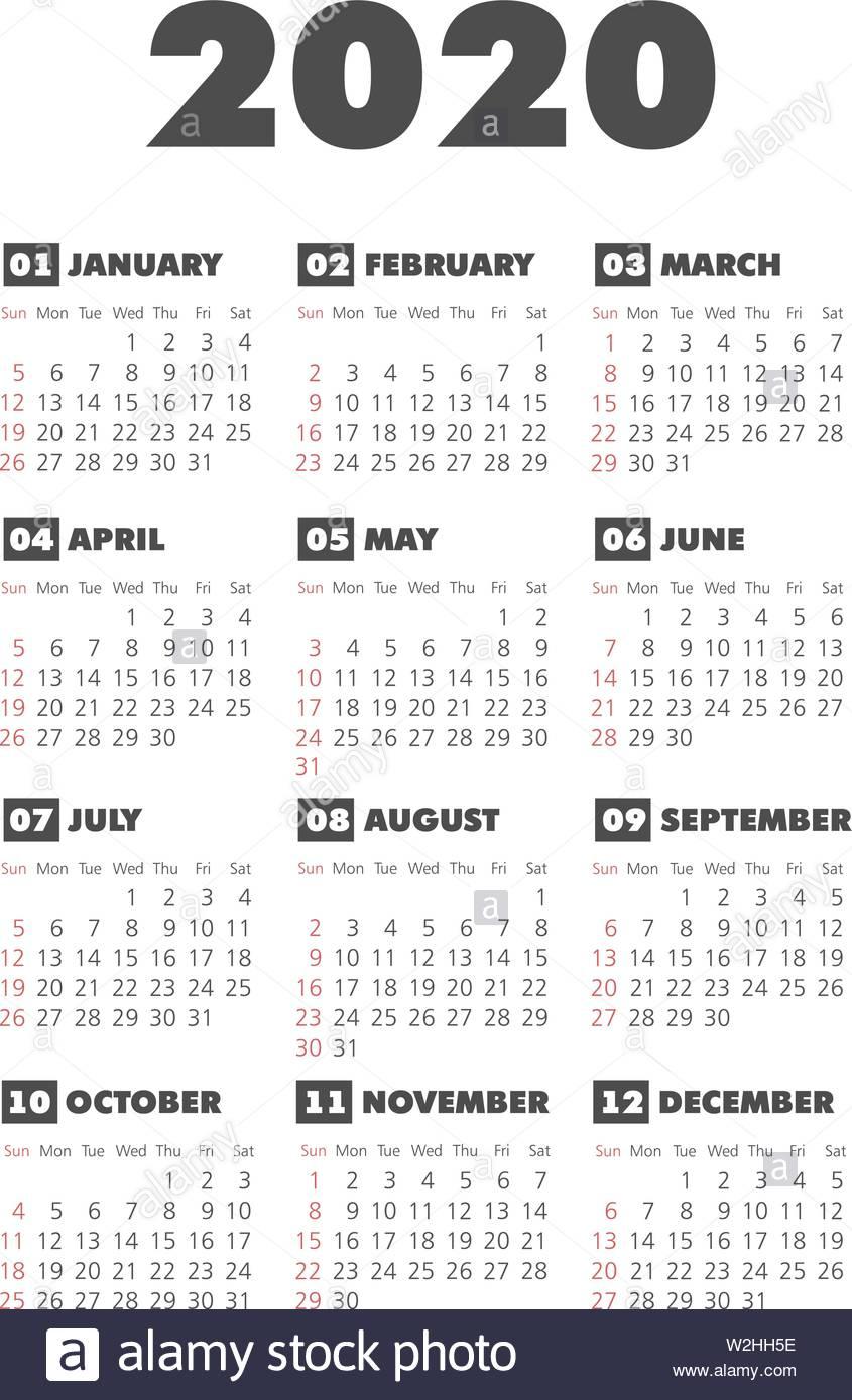 Calendar 2020 Year. Black And White Vector Template. Week