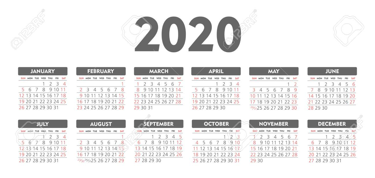 Calendar 2020 Year. Black And White Vector Template. Week Starts..