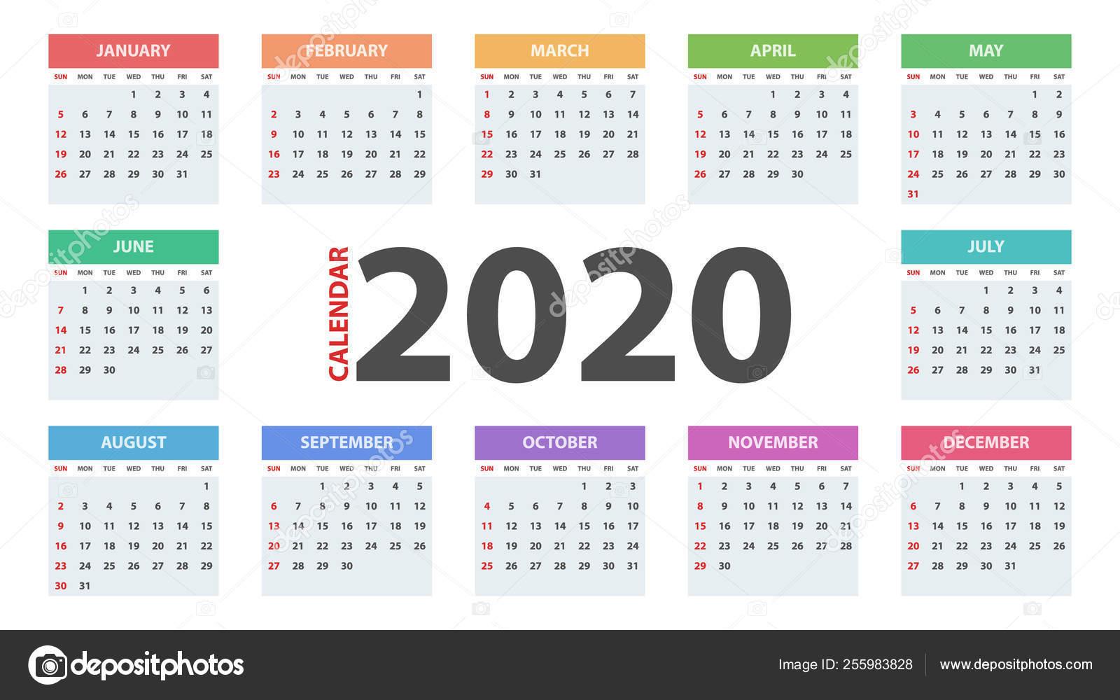 Calendar 2020 Year. Business Template. — Stock Vector