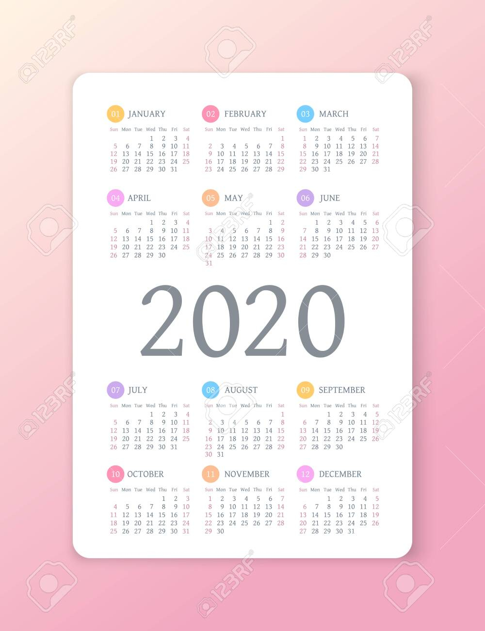 Calendar 2020 Year. Color Vector Template. Week Starts On Sunday