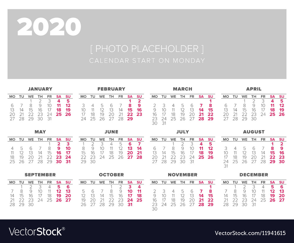 Calendar 2020 Year Design Template