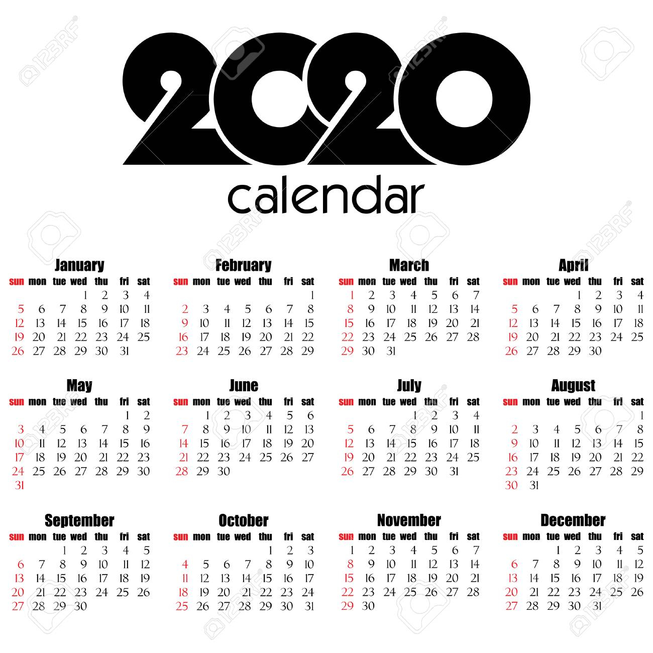 Calendar 2020 Year Flat Design, Simple Style. Week Starts From..