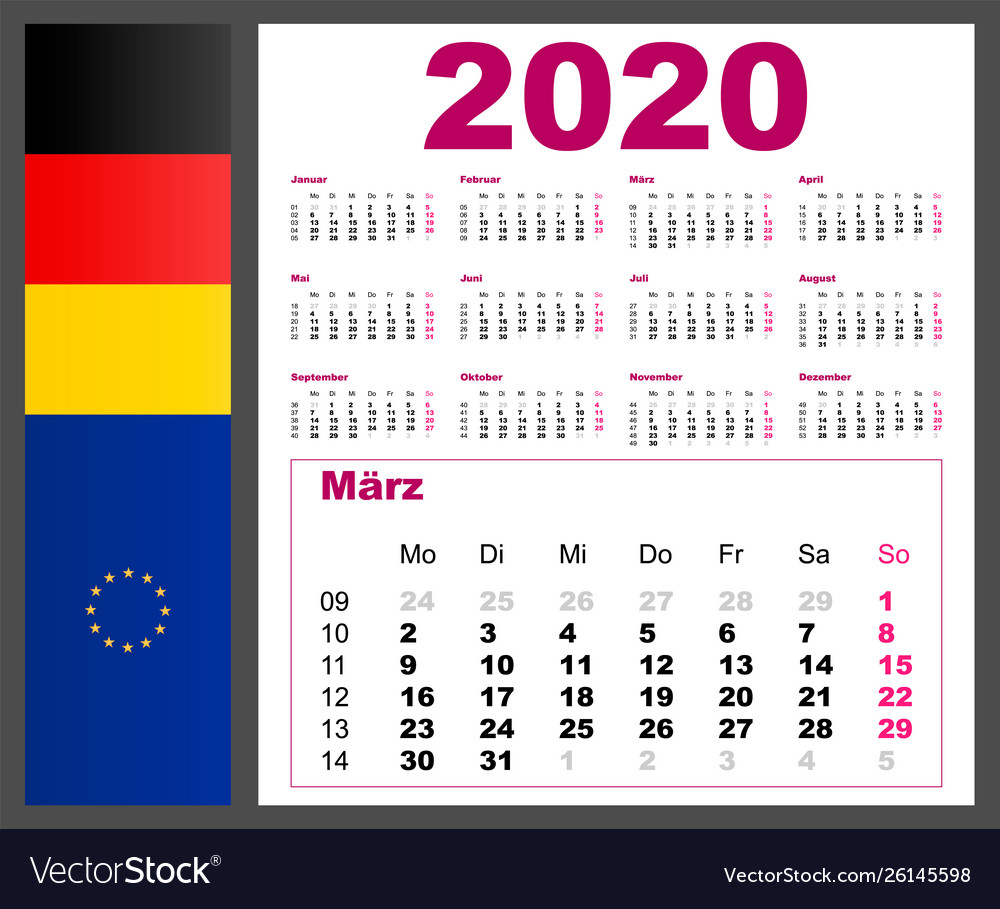 Calendar 2020 Year German Language Week Numbering