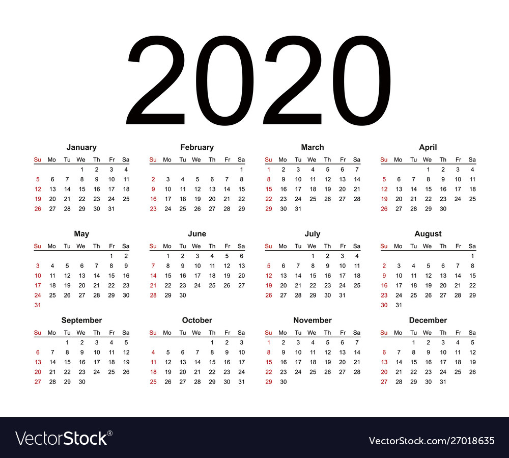 Calendar 2020 Year Simple Style