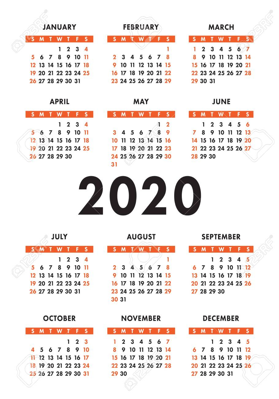 Calendar 2020 Year. Vector Design Template. English Vertical..