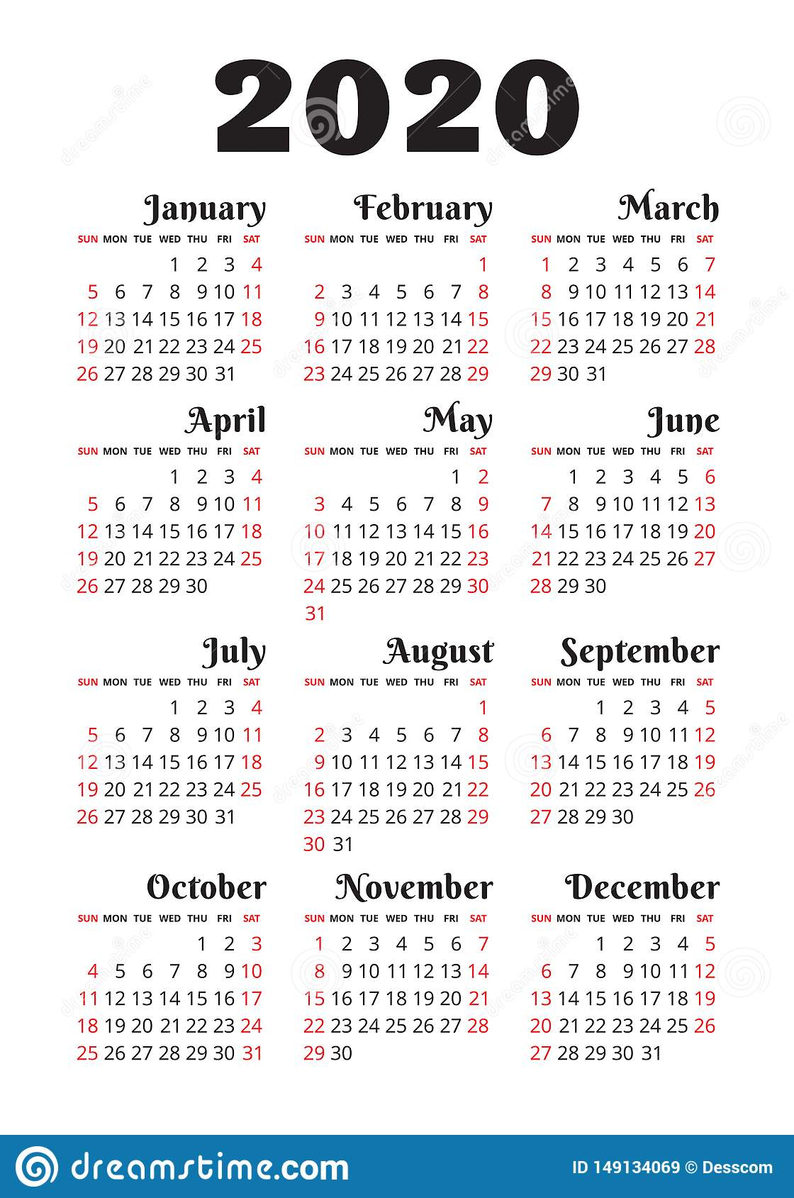 Calendar 2020 Year. Vector Design Template. English Vertical