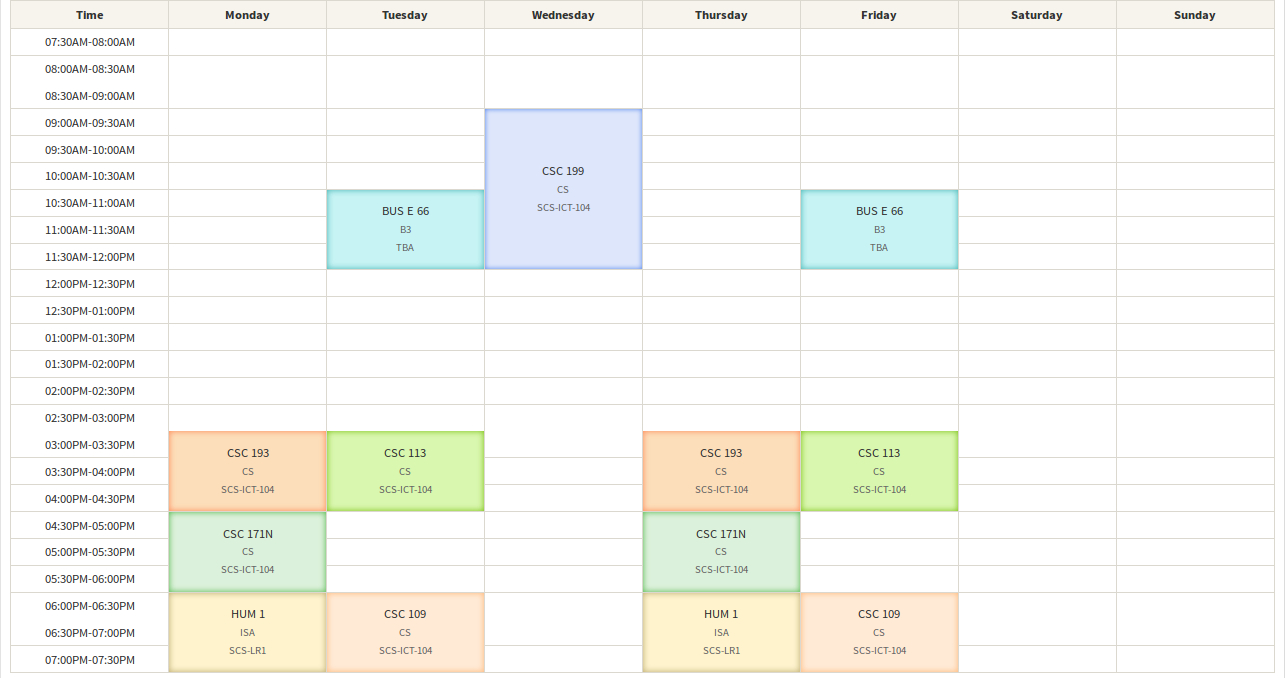Calendar - Android Library For A Week View Scheduler (No