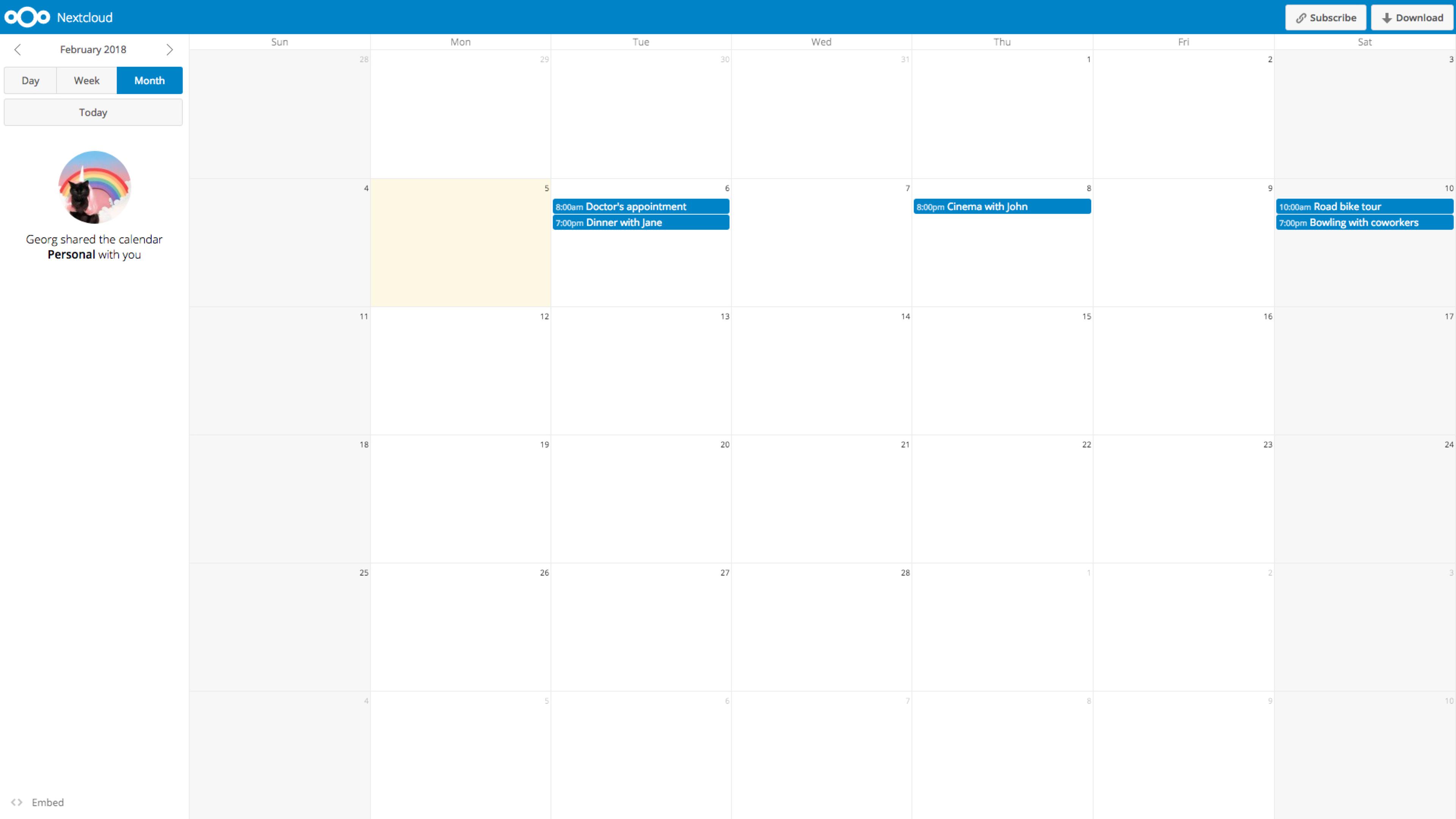 Calendar - Apps - App Store - Nextcloud