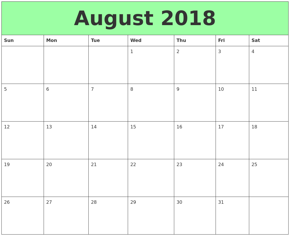 Calendar August 2018 Printable – Landscape Format | Excel