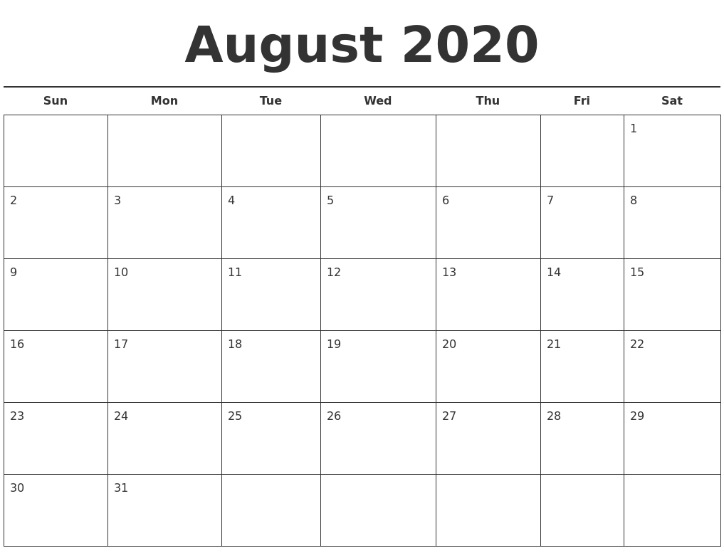 Calendar August 2020 Template - Wpa.wpart.co