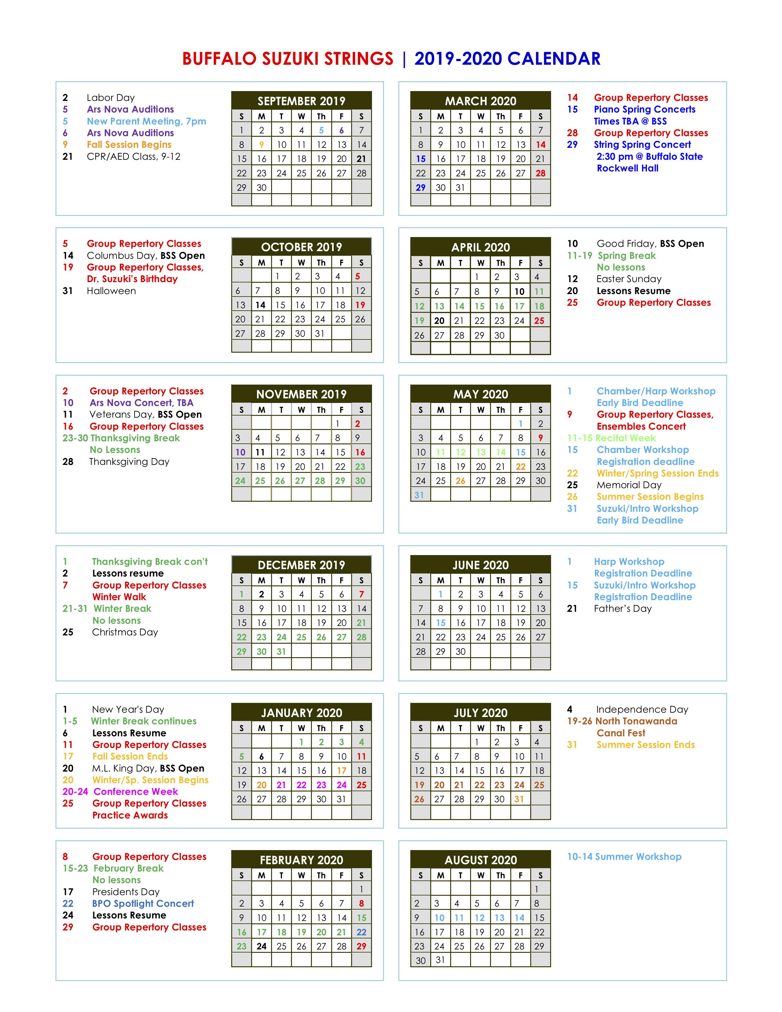 Calendar - Buffalo Suzuki Strings