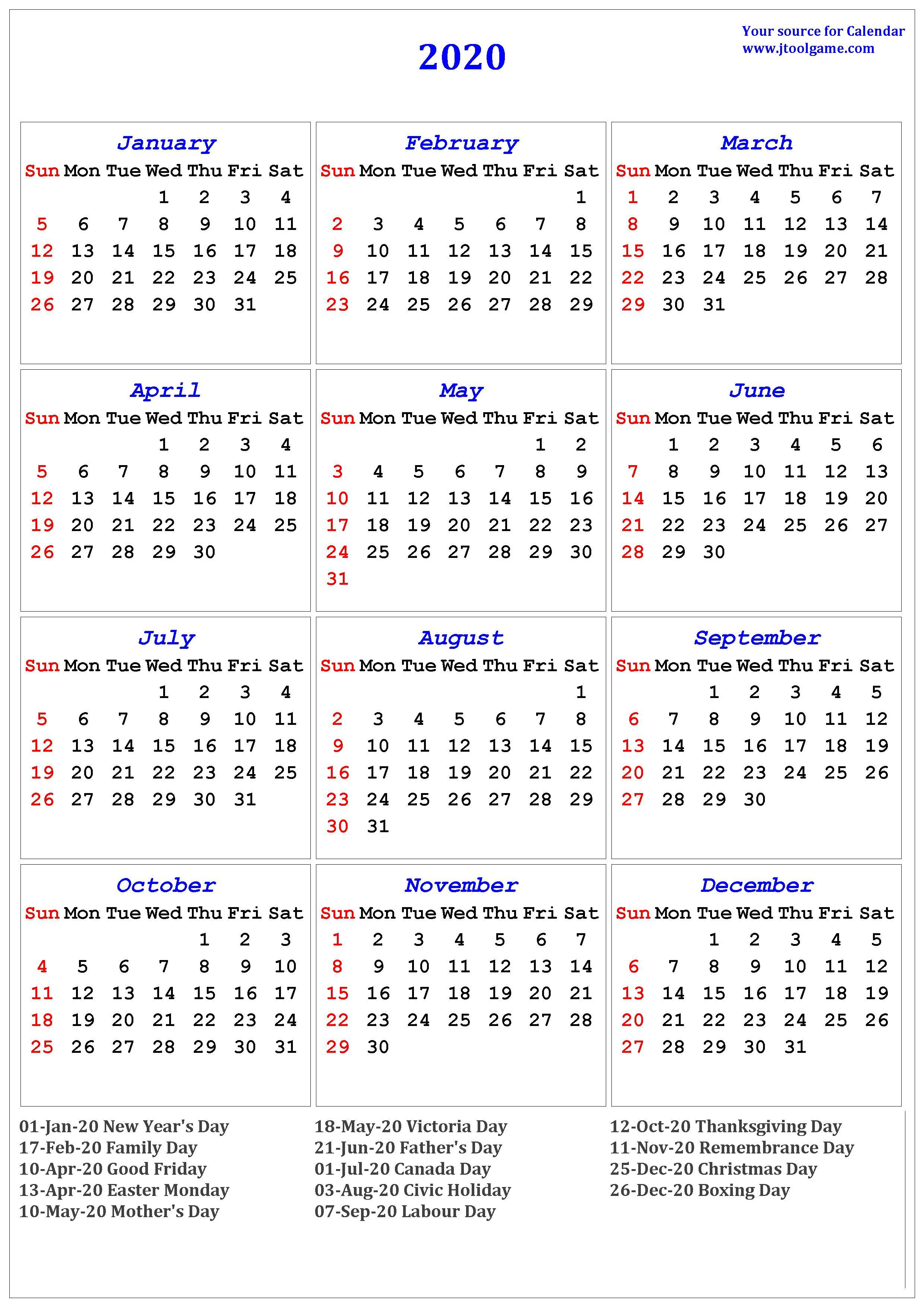 Calendar Canada 2020 - Wpa.wpart.co