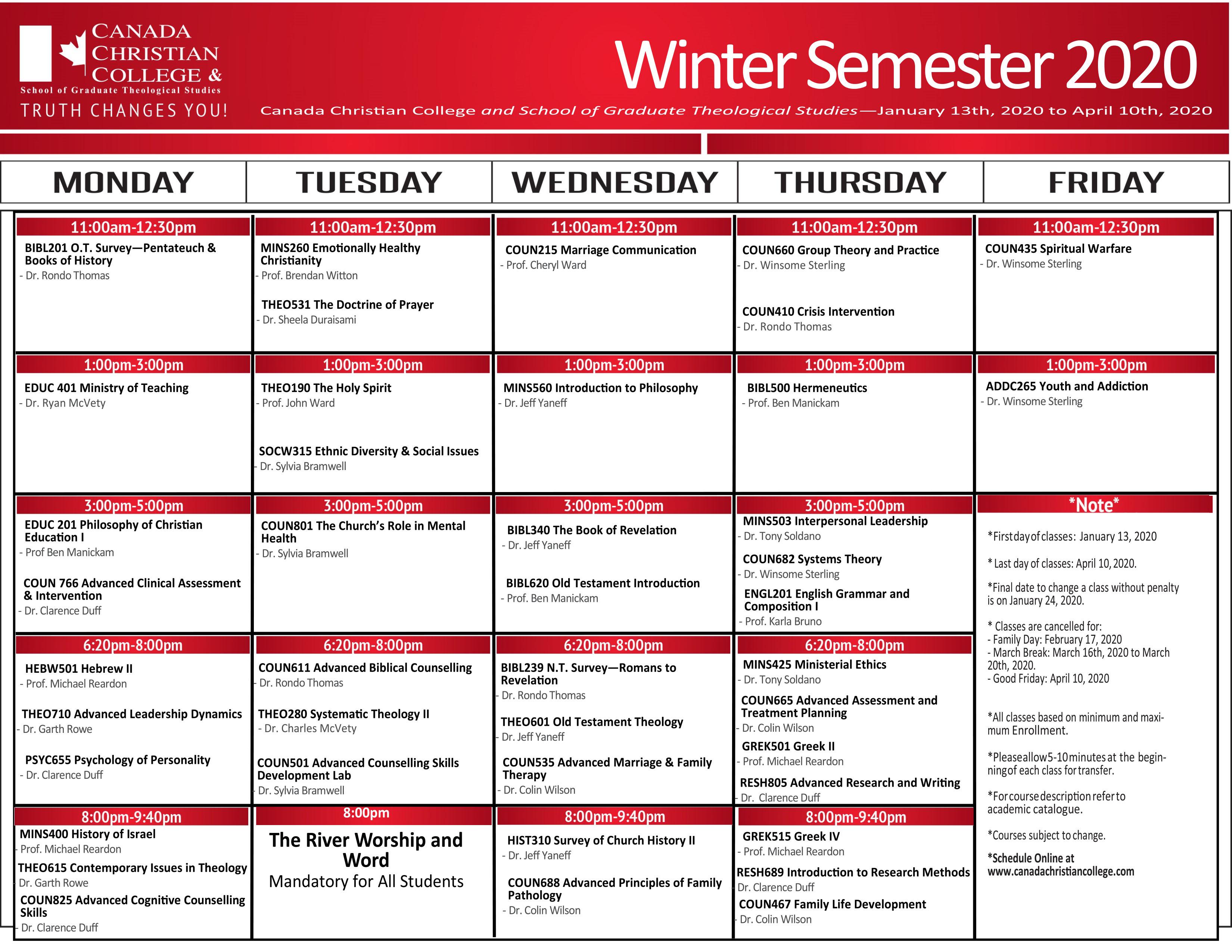 Calendar | Canada Christian College