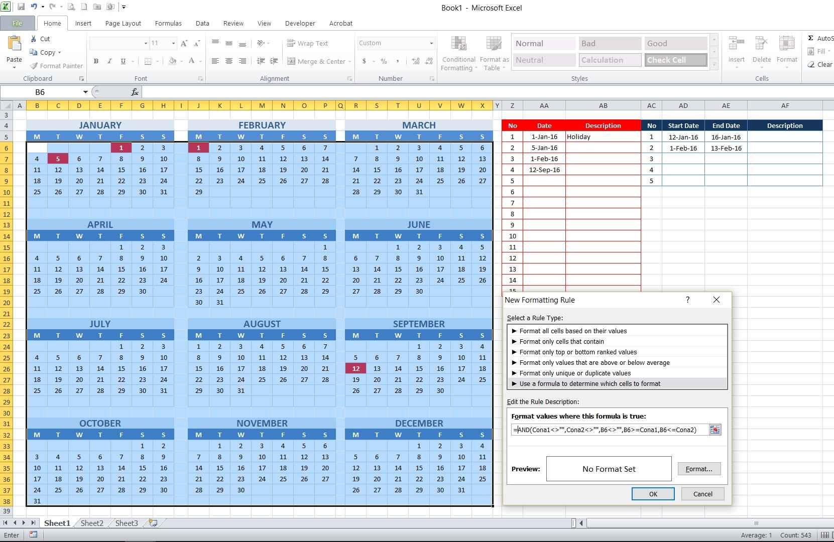 Calendar Date Formula Excel | Calendar Tooltip