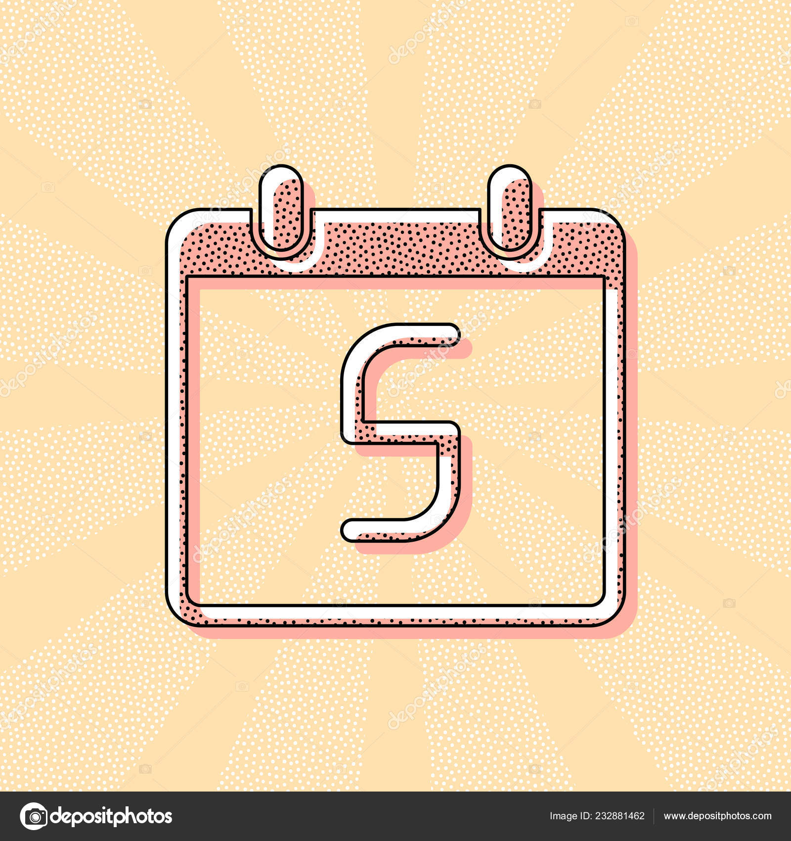 Calendar Day Simple Icon Vintage Retro Typography Offset