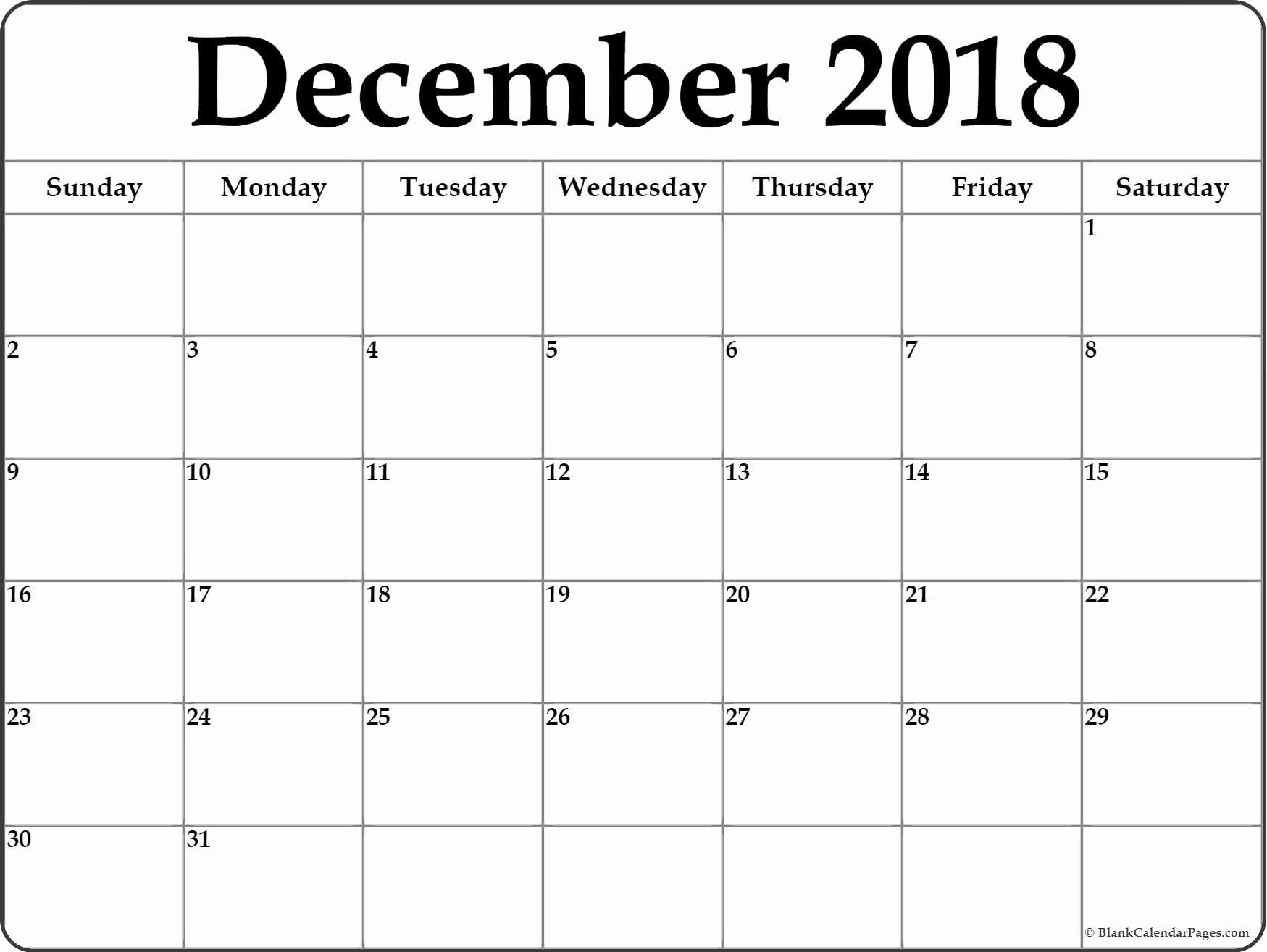 Calendar December 2018 And January 2019 | 2018 December