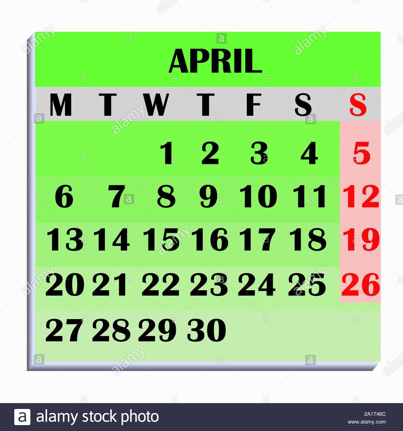 Calendar Design Month April 2020. Year 2020 Calendar. Simple