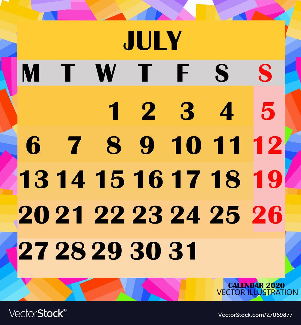 Calendar Design Month July 2020