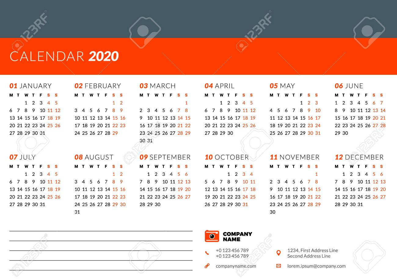 Calendar Design Template For 2020 Year. Week Starts On Monday