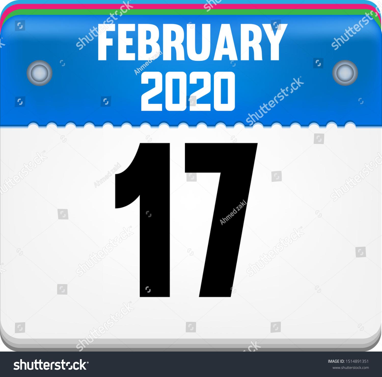 Calendar February 17 Year 2020 Vector Stock Vector (Royalty