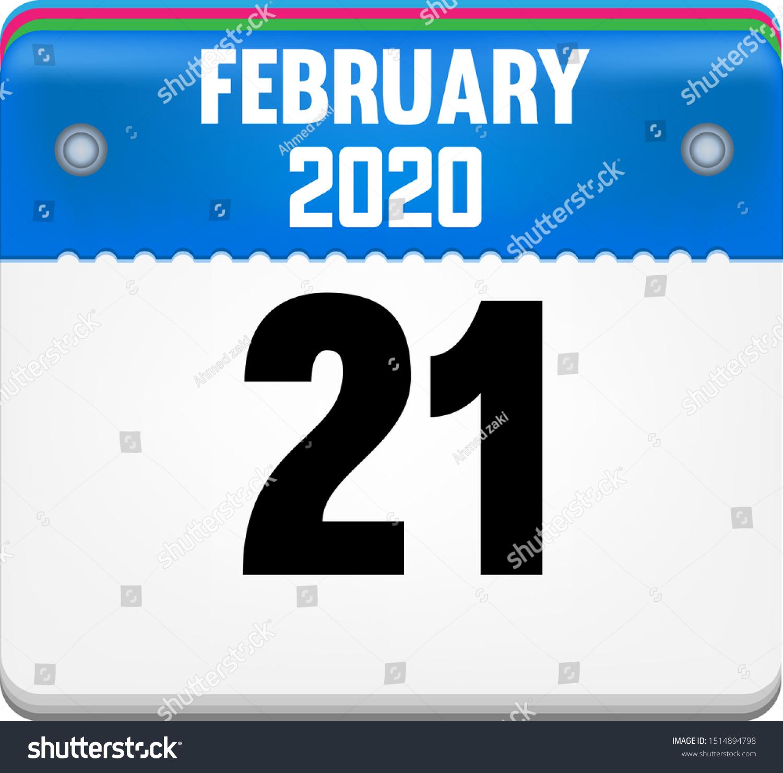 Calendar February 21 Year 2020 Vector Stock Vector (Royalty