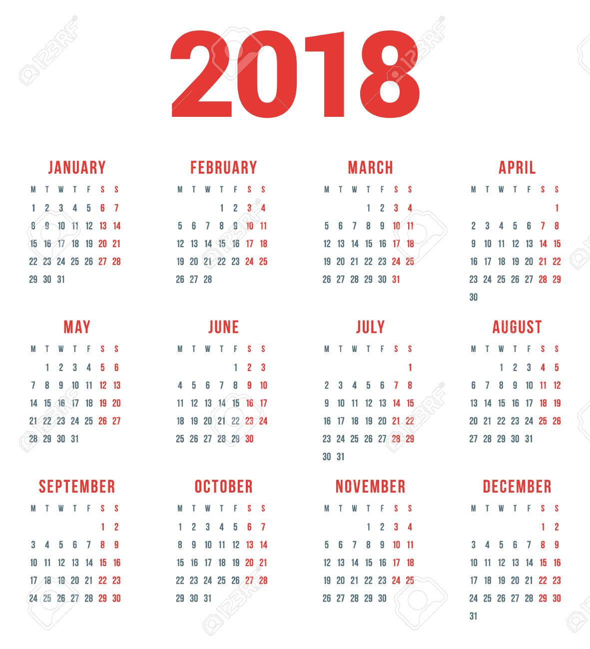 Calendar For 2018 Year On White Background. Week Starts Monday. 4 Columns,  3 Rows. Simple Vector Template. Stationery Design Template