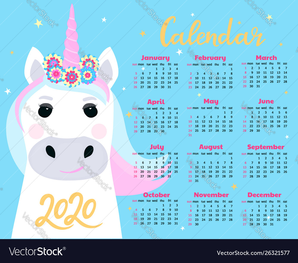 Calendar For 2020 From Sunday To Saturday Cute