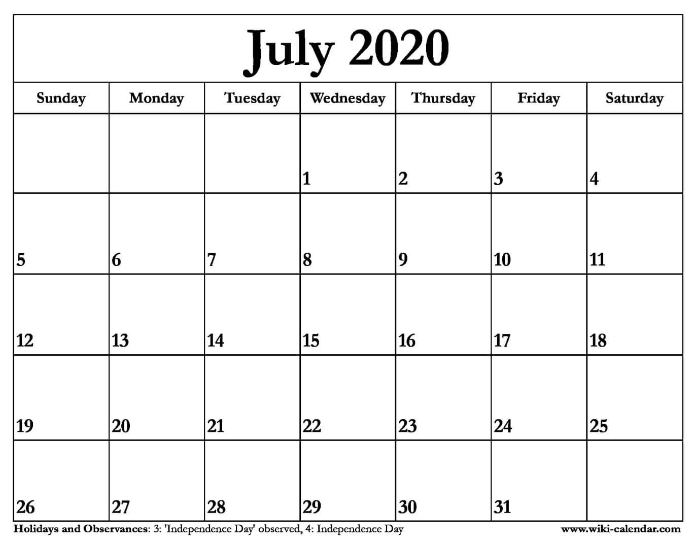 Calendar For 2020 July - Wpa.wpart.co