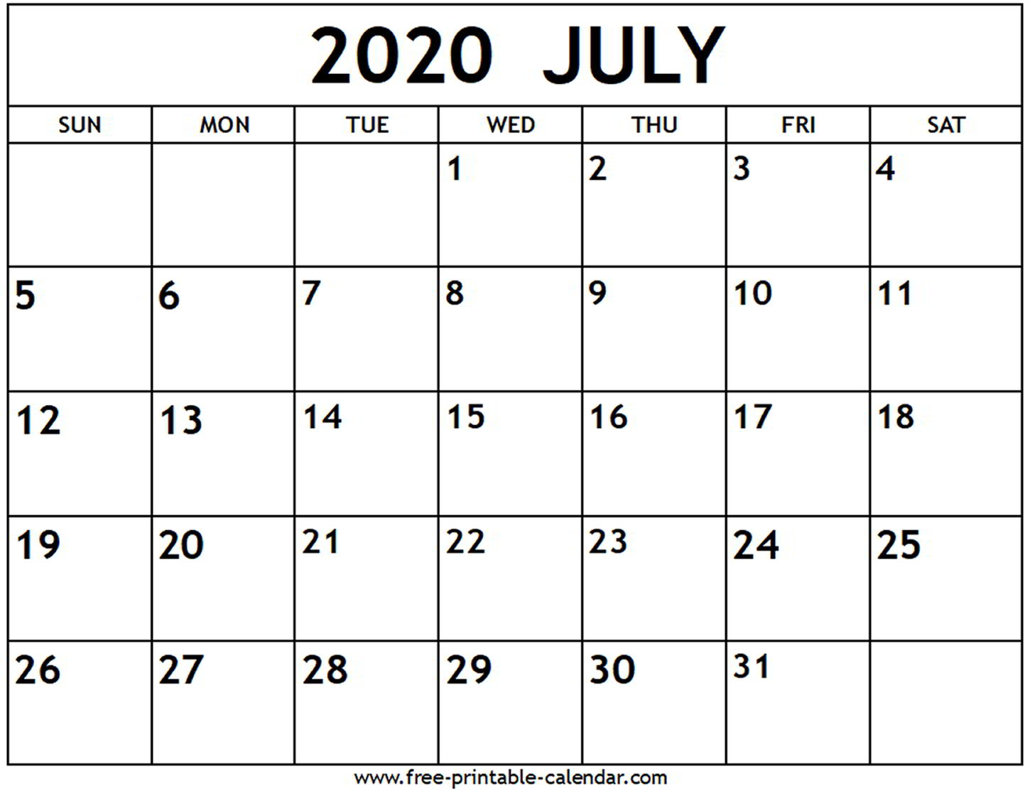 Calendar For 2020 July - Wpa.wpart.co