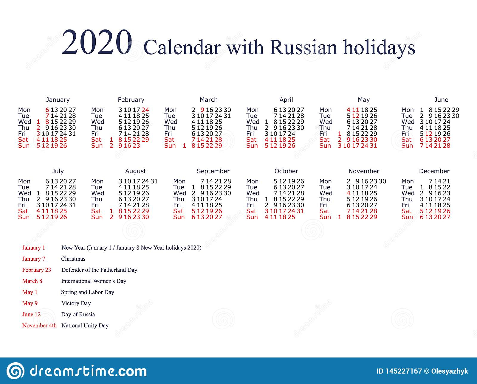 Calendar For 2020 With Russian Holidays And Weekends Stock