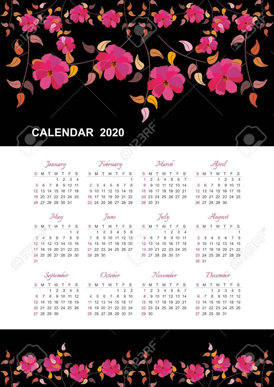 Calendar For 2020 Year. Week Starts On Sunday. Beautiful Design..