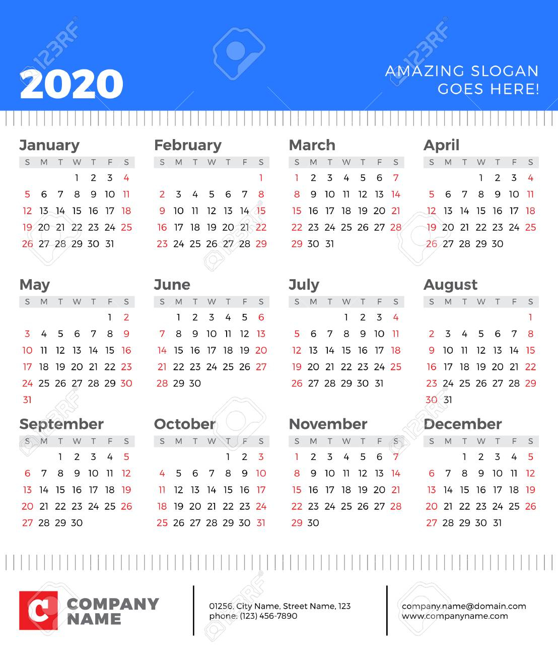 Calendar For 2020 Year. Week Starts On Sunday. Vector Design..
