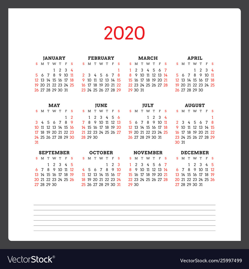 Calendar For 2020 Year Week Starts On Sunday