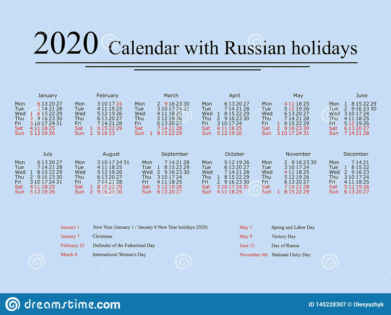 Calendar For 2020 Year With Russian Holidays And Weekends