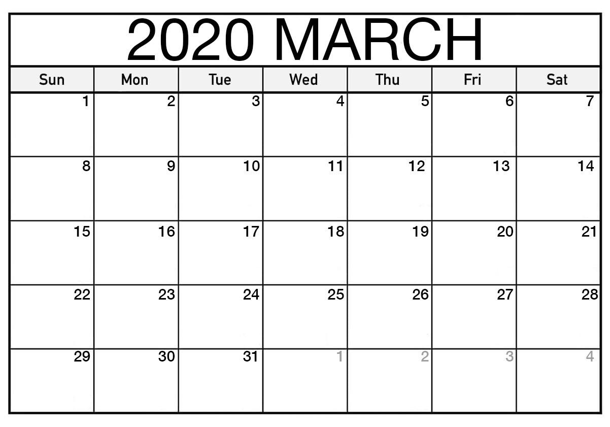 Calendar For March 2020 Printable Template - 2019 Calendars
