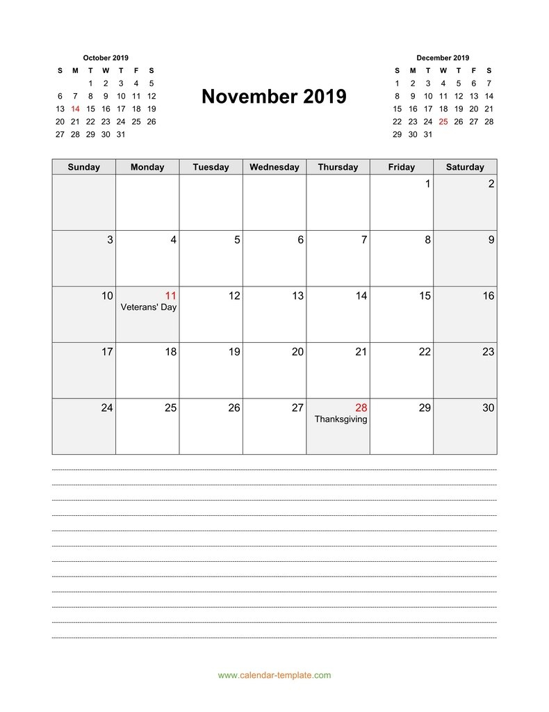 Calendar For November 2019 With Previous, Next Month
