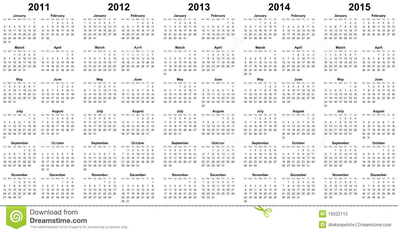 Calendar For Year 2011, 2012, 2013, 2014, 2015 Stock