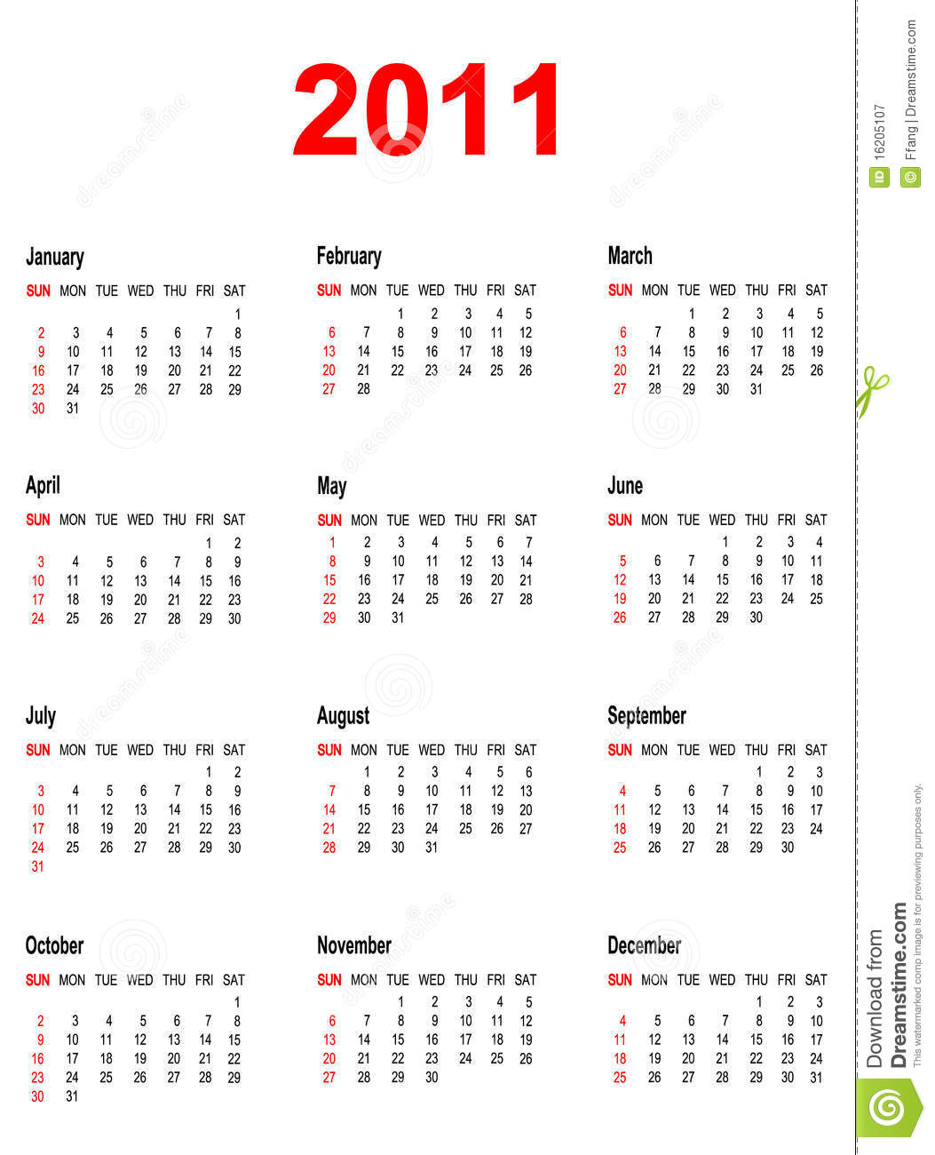 Calendar For Year 2011. Stock Vector. Illustration Of 2011
