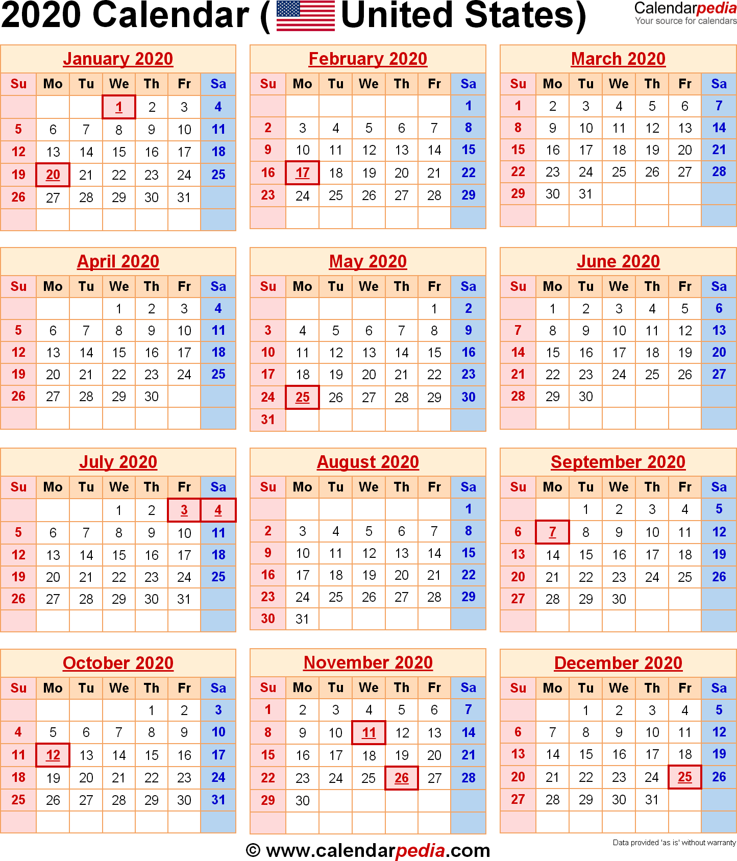 Calendar For Year 2020 United States - Wpa.wpart.co