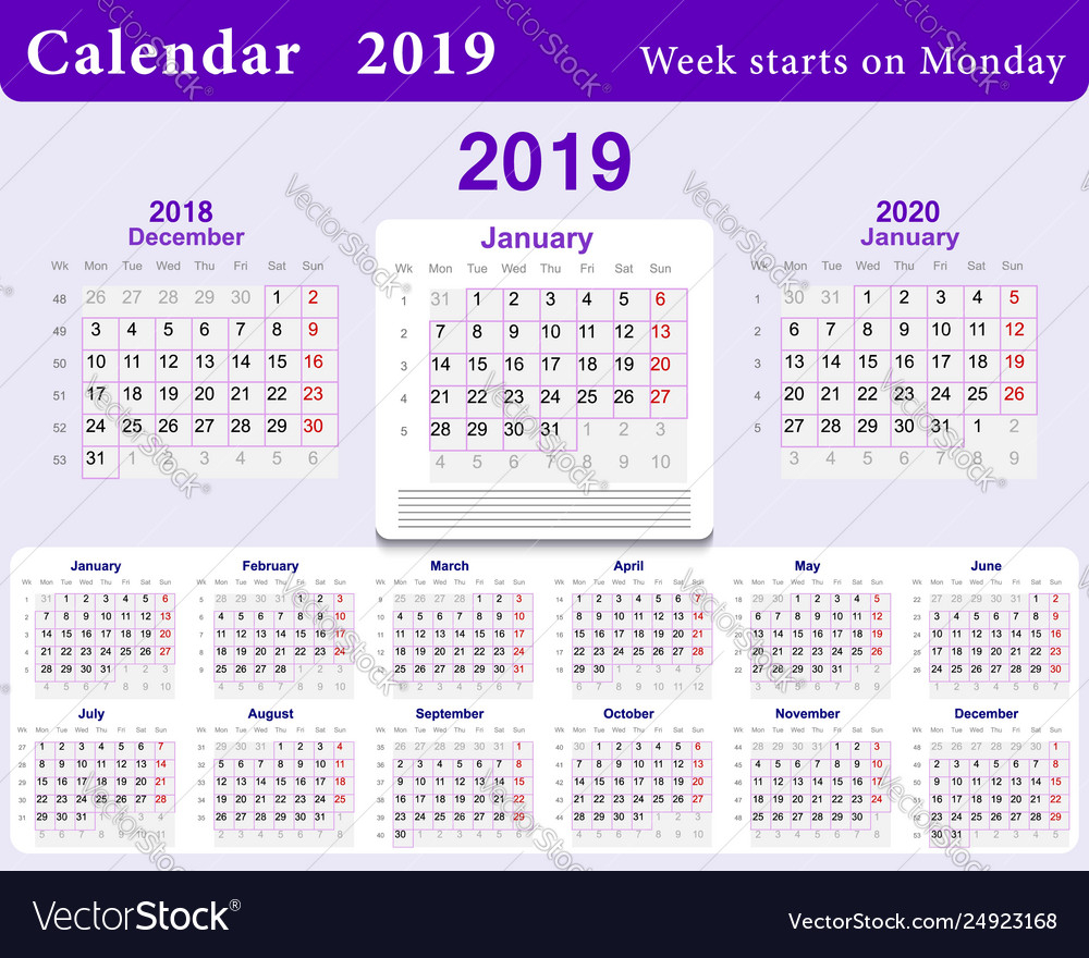 Calendar Grid For 2019 In English Language Wall