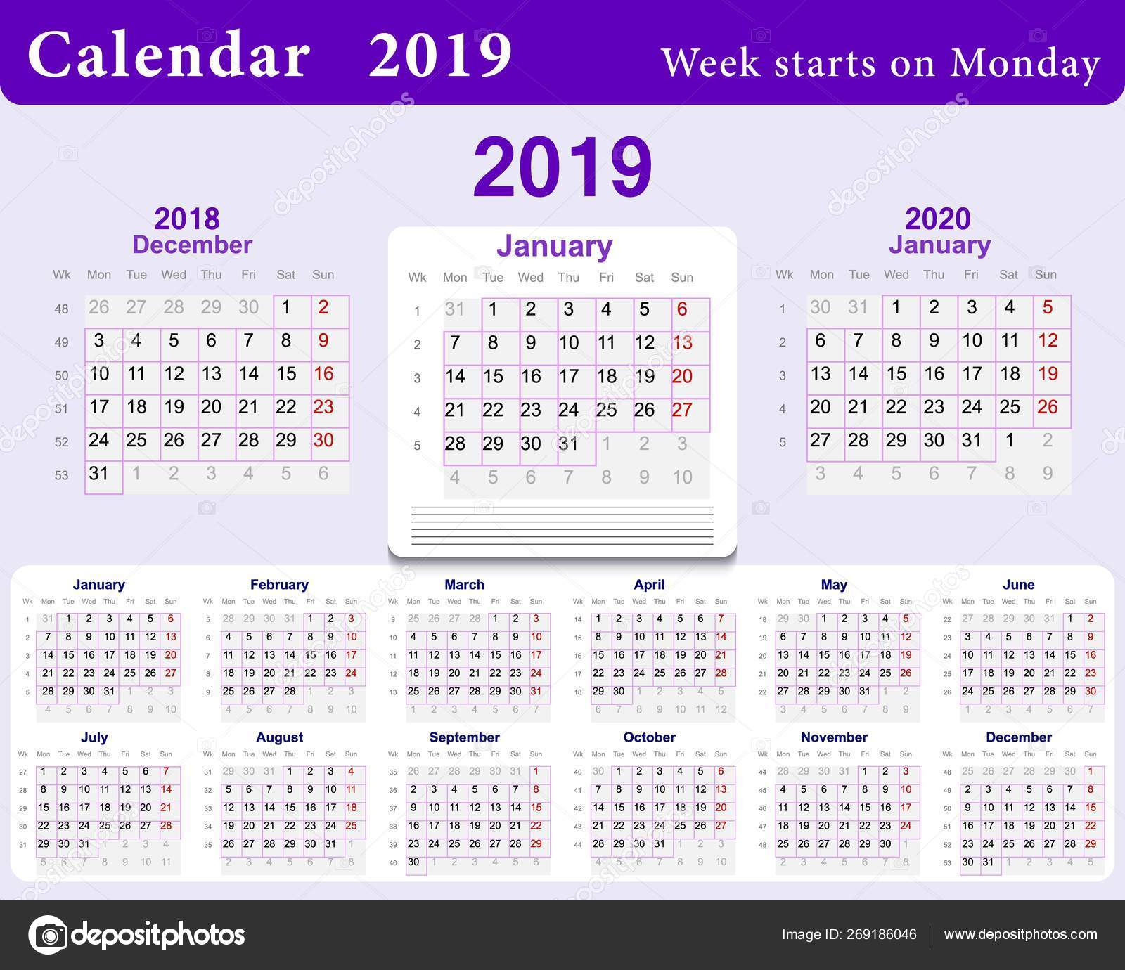 Calendar Grid For 2019 In English Language. Wall Template In