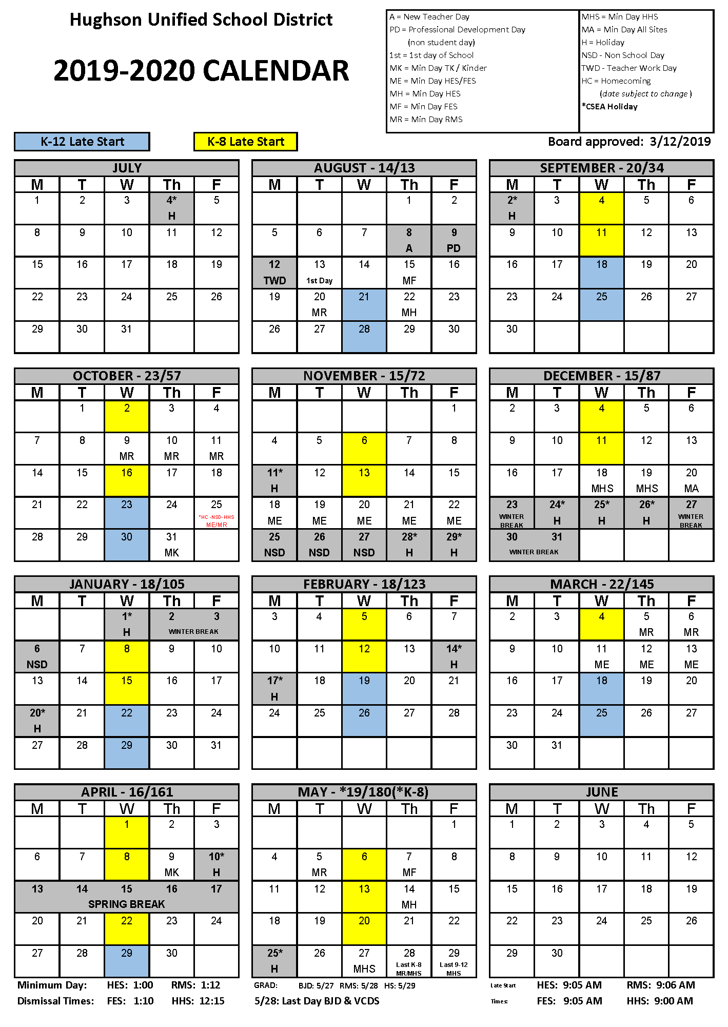 Calendar - Hughson Unified School District