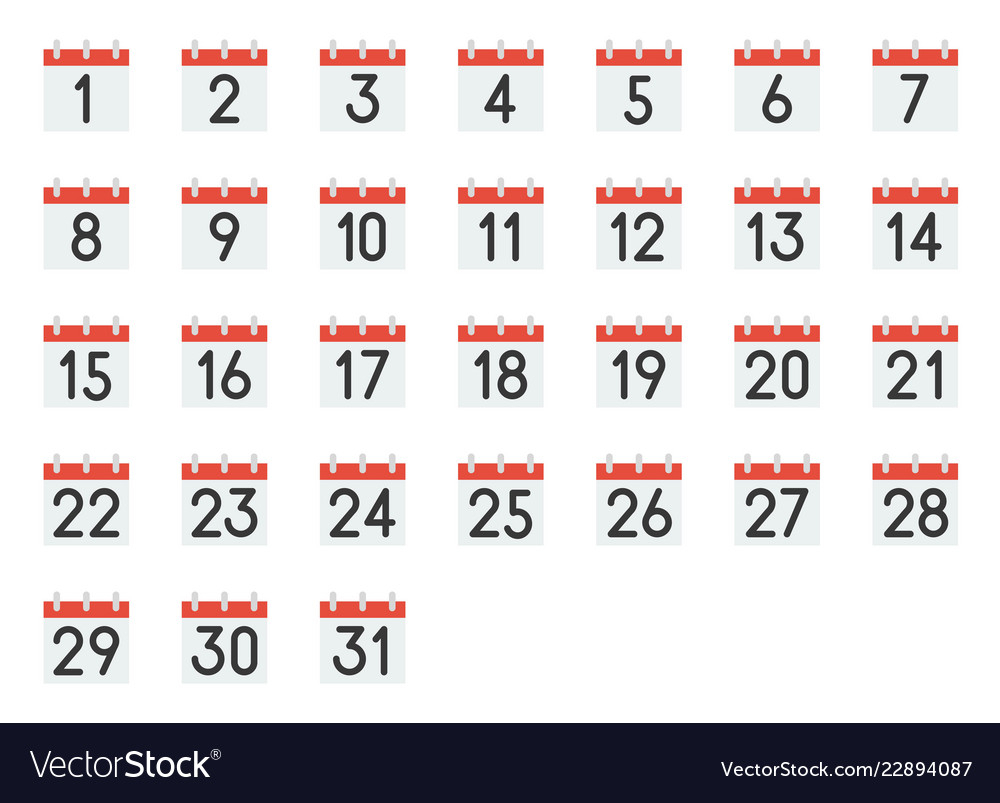 Calendar Icon With Number 1-31 Pixel Perfect