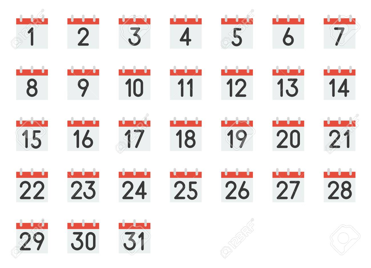 Calendar Icon With Number 1-31, Pixel Perfect