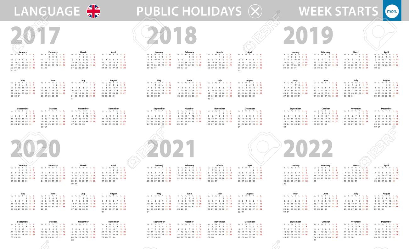 Calendar In English Language For Year 2017, 2018, 2019, 2020,..