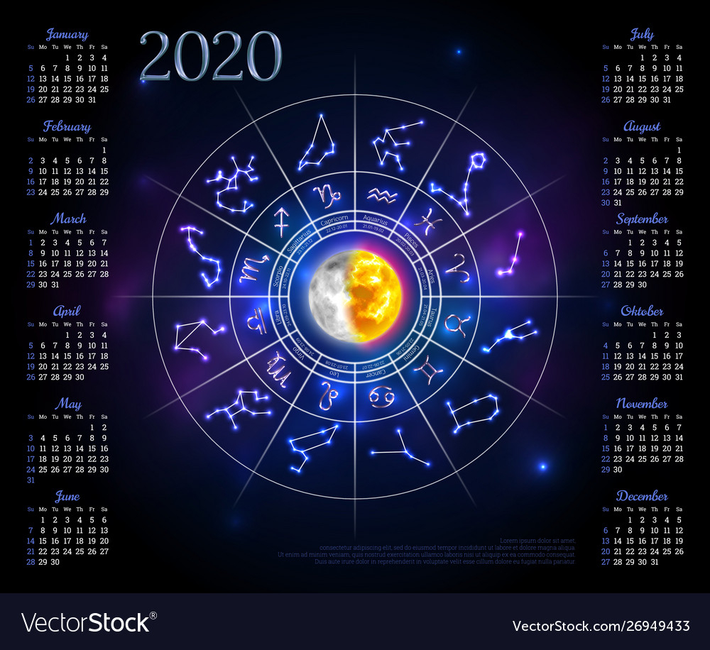 Calendar Layout For 2020 Year With Zodiac Circle